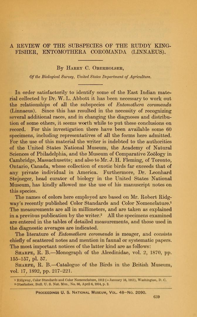 A Review of the Subspecies of the Ruddy Kingfisher, Entomothera coromanda (Linnaeus)