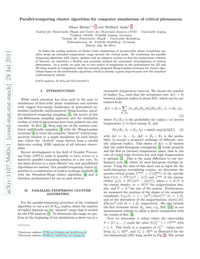 Elmar Bittner - Parallel-tempering cluster algorithm for computer simulations of critical phenomena