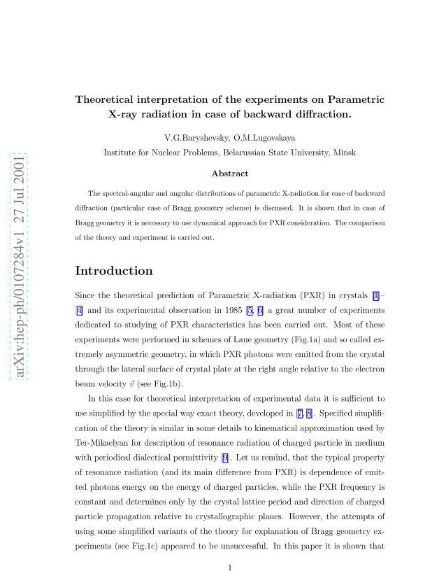 Vladimir G. Baryshevsky - Theoretical interpretation of the experiments on Parametric X-ray radiation in case of backward diffraction