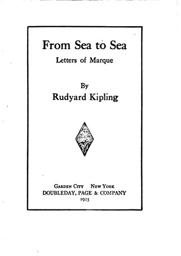 From Sea to Sea, Letters of Marque by Rudyard Kipling