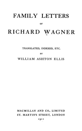 Download Family letters of Richard Wagner.