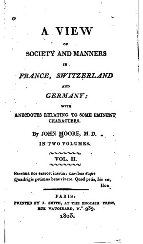 Download A view of society and manners in France, Switzerland, and Germany