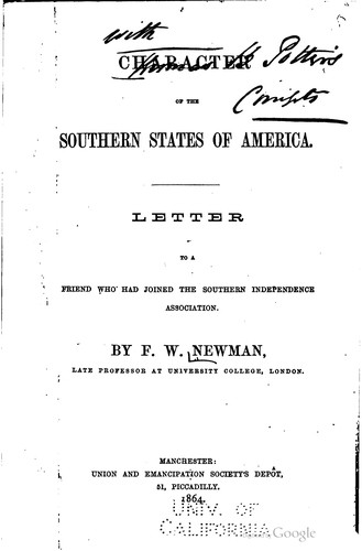 Download Character of the southern states of America.