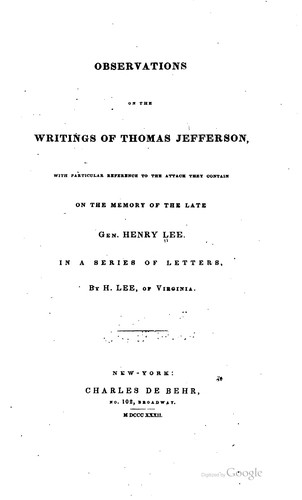 Download Observations on the writings of Thomas Jefferson