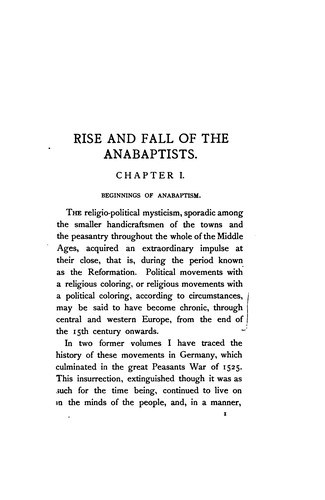 Rise and fall of the Anabaptists.