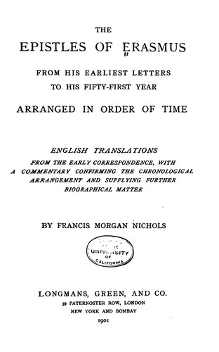 The Epistles of Erasmus (epistles: 1-211)