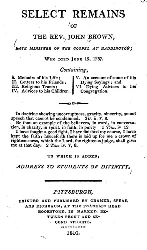 Select remains of the Rev. John Brown