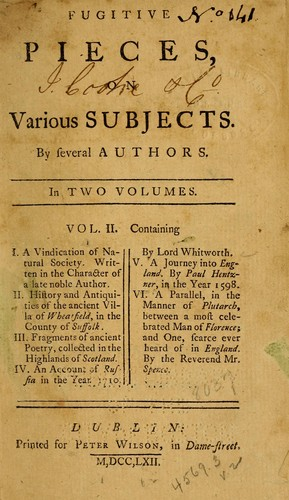 Fugitive pieces, on various subjects by Robert Dodsley