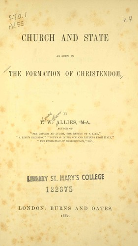 Church and state as seen in the formation of Christendom