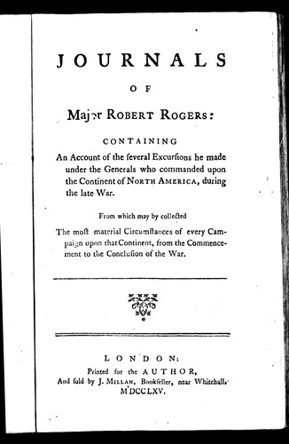 Journals of Major Robert Rogers
