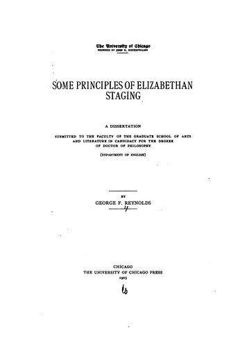 Download Some principles of Elizabethan staging