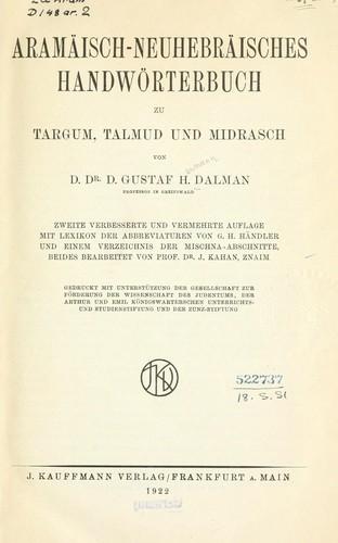Aramäisch-neuhebräisches Handwörterbuch zu Targum, Talmud und Midrasch