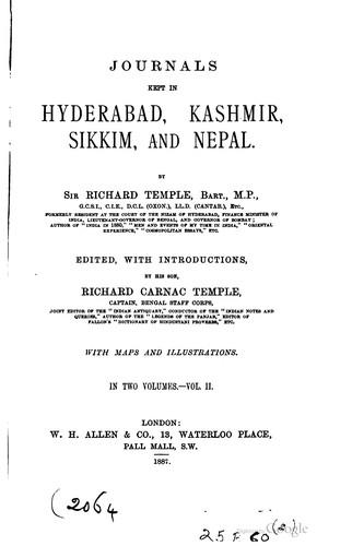 Journals kept in Hyderabad, Kashmir, Sikkim, and Nepal.