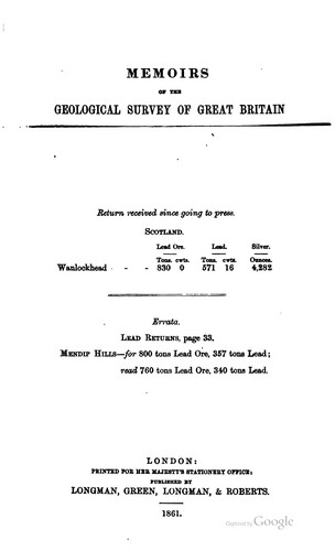 Mineral statistics of the United Kingdom of Great Britain and Ireland …