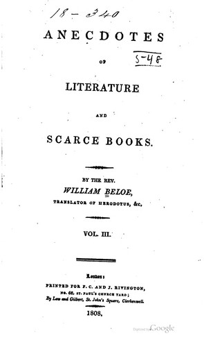 Anecdotes of literature and scarce books.