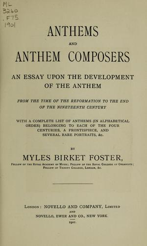 Anthems and anthem composers by Foster, Myles Birket