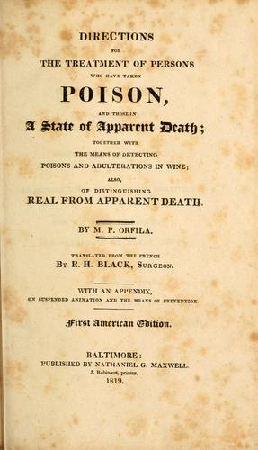Download Directions for the treatment of persons who have taken poison, and those in a state of apparent death