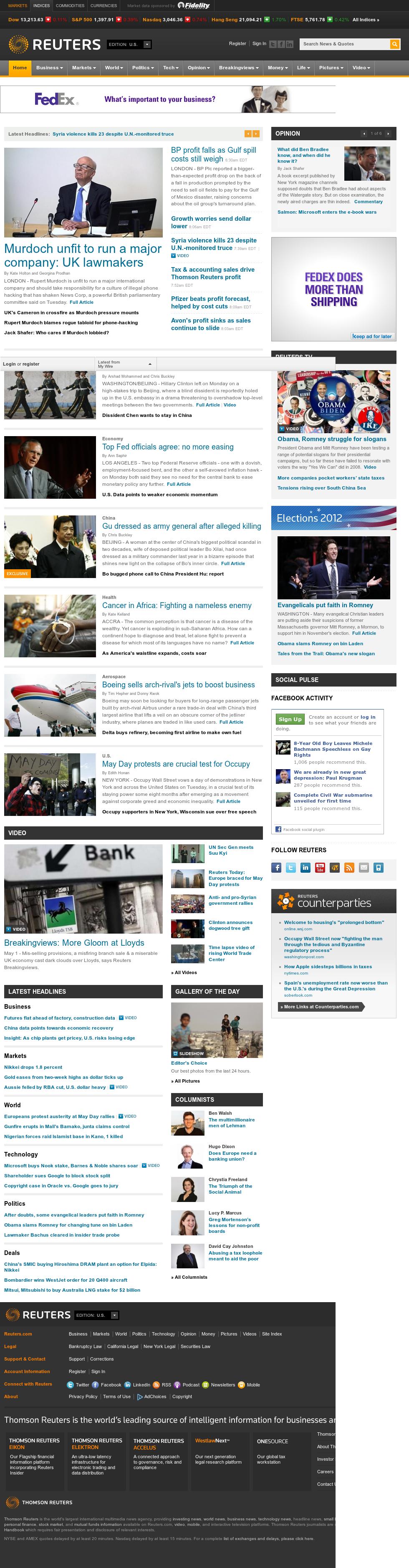 Reuters at Tuesday May 1, 2012, 12:14 p.m. UTC