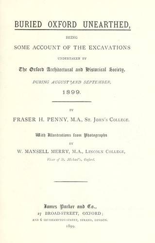 Buried Oxford unearthed by Fraser H. Penny
