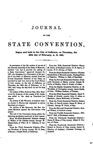 Journal and Proceedings of the Missouri State Convention by Missouri Convention