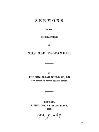Sermons on the characters of the Old Testament by Isaac Williams
