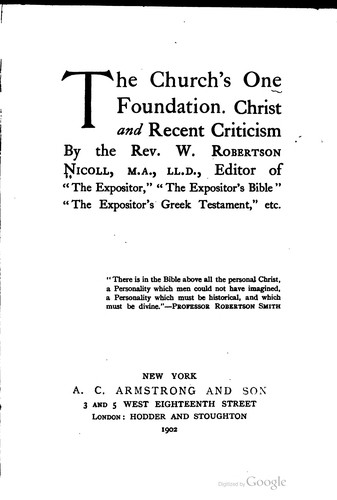 The church's one foundation.