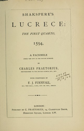 The rape of Lucrece by William Shakespeare