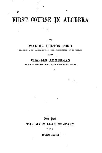 First course in algebra by Walter Burton Ford