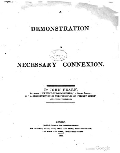 A demonstration of necessary connexion by John Fearn