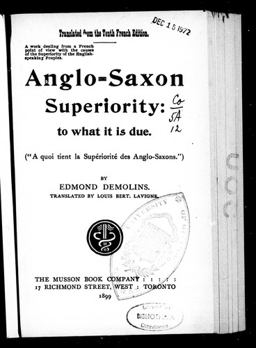 Anglo-Saxon superiority by Edmond Demolins