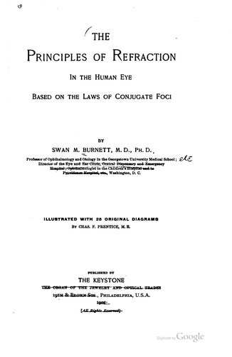 The principles of refraction in the human eye by Swan M. Burnett