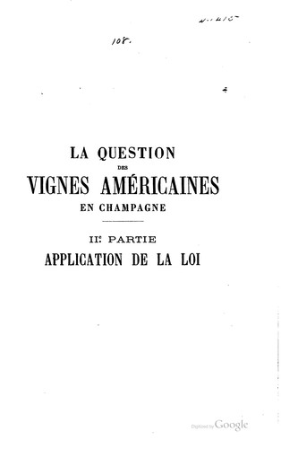 La question des vignes américaines en Champagne by G. Vimont