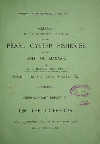 Report of the Copepoda collected by Professor Herdman, at Ceylon, in 1902 by Isaac C. Thompson