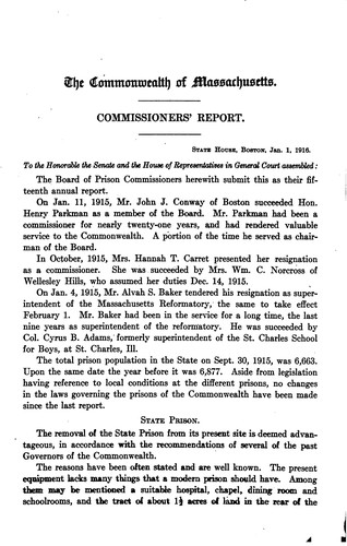 Annual Report of the Board of Prison Commissioners of Massachusetts by Massachusetts Board of Prison Commissioners