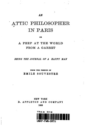 An Attic Philosopher In Paris by Emile Souvestre