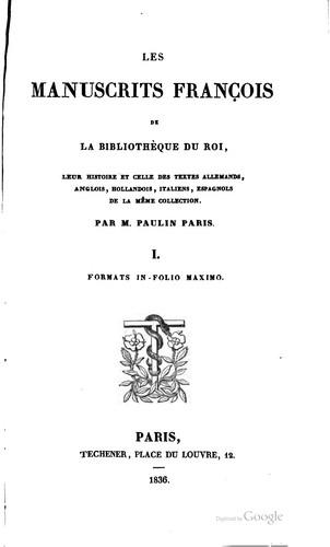 Les manuscrits françois de la Bibliothèque du roi
