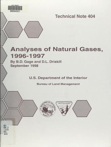 Analyses of natural gases, 1996-97 by B. D. Gage